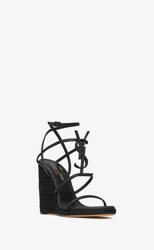 cassandra wedge espadrilles with black logo in leather