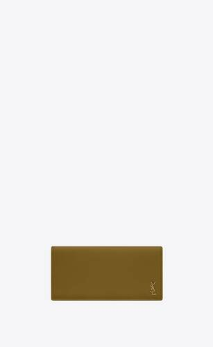 tiny monogram continental wallet in grained calfskin