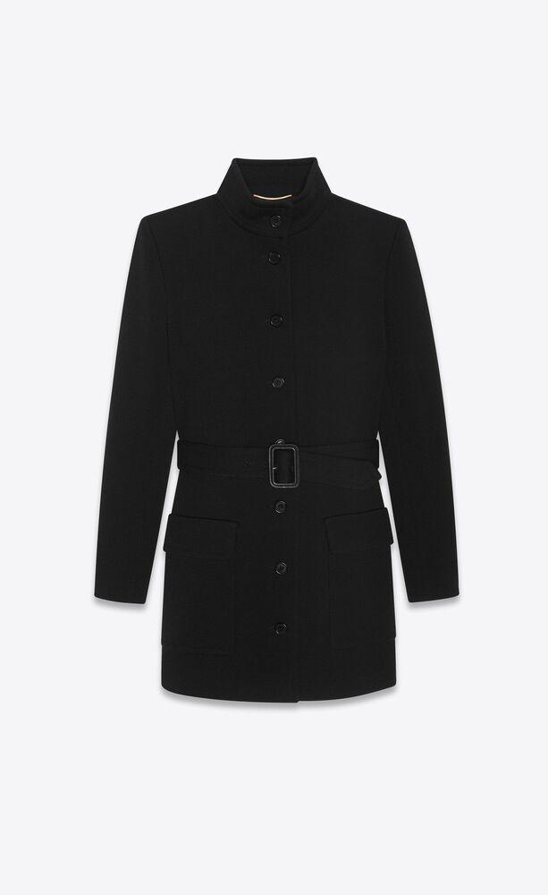 long belted jacket in wool jersey