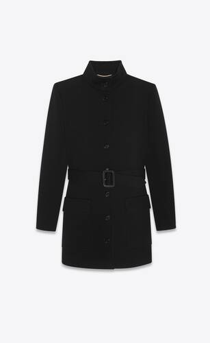 long belted jacket in wool jersey
