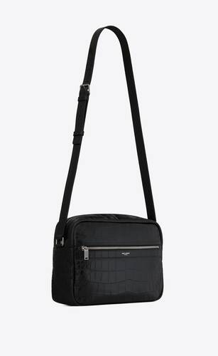sid thin messenger bag in crocodile-embossed matte leather