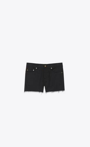 low-rise shorts in used black stretch denim