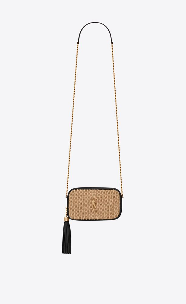 lou mini bag in raffia and vintage leather