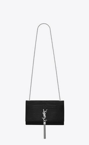medium tassel satchel in black crocrodile embossed shiny leather
