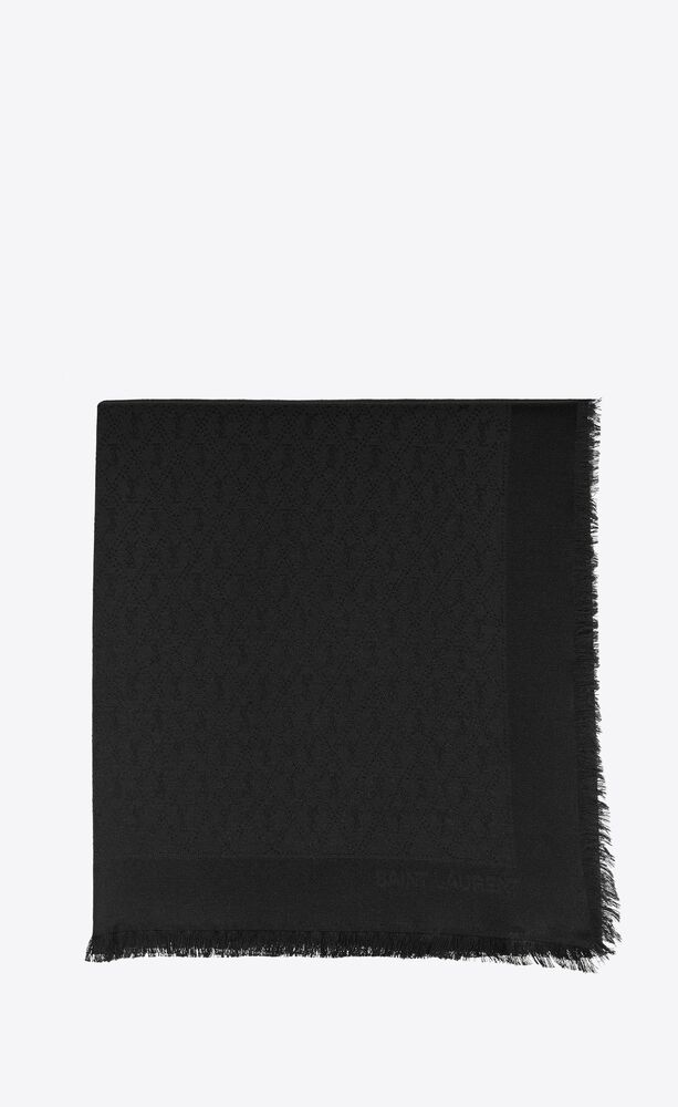 monogram fringed large square scarf in silk and wool jacquard