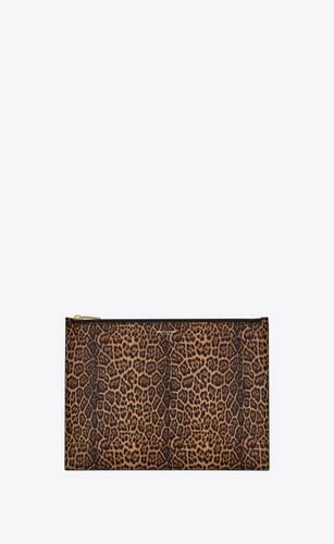 saint laurent paris medium pouch in leopard-print leather