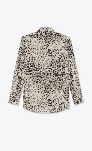 snow-leopard shirt in silk crepe de chine