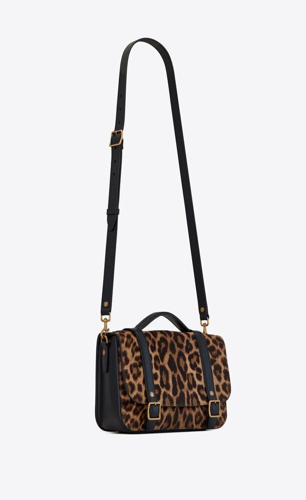 schoolbag mini satchel in leopard-print pony-effect leather