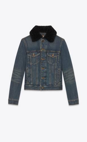 vintage-blaue jeansjacke mit abgenutzter optik