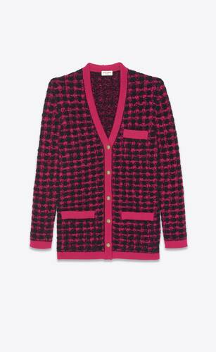 long cardigan in jacquard houndstooth