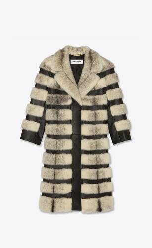 long striped fur coat in mink and lambskin