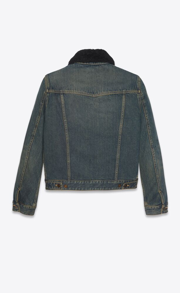 jacket with shearling in dark dirty vintage blue denim