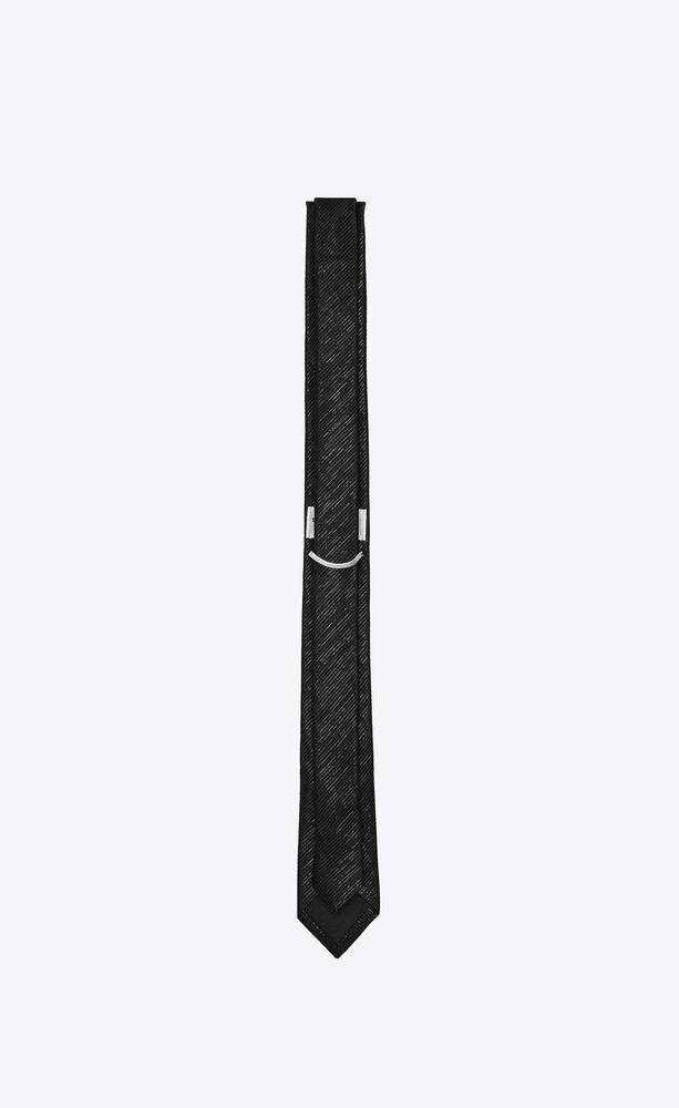 narrow tie in lamé silk jacquard with stripes