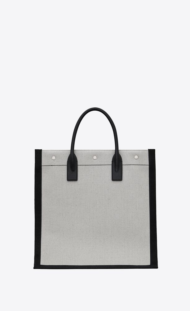 rive gauche n/s tote bag in printed linen and leather