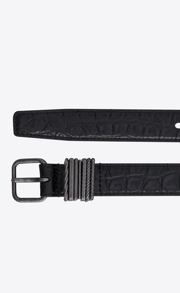 stacked-loop thin belt in crocodile-embossed matte leather