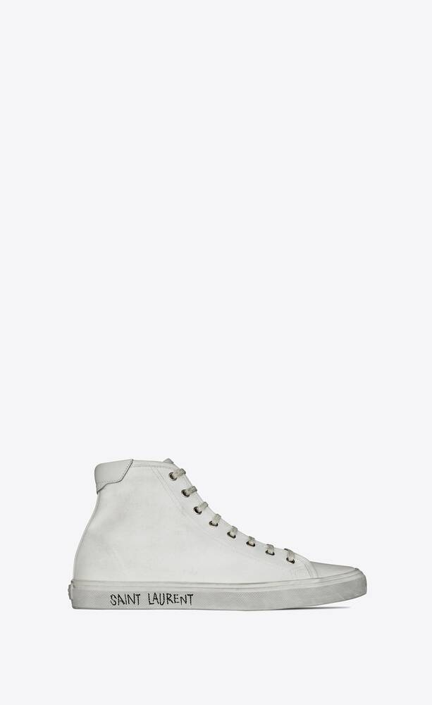 malibu mid-top sneakers in canvas and leather