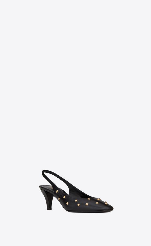 carole slingback pumps in smooth leather with heart studs