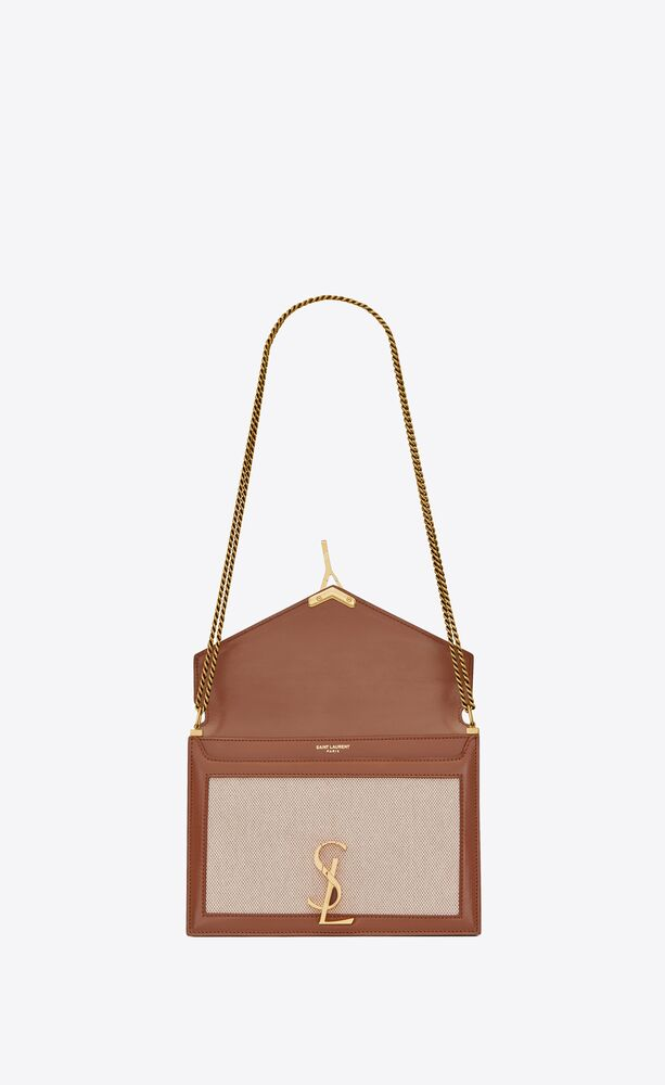cassandra monogram clasp bag in canvas and smooth leather