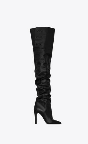 jane over-the-knee boots in shiny grained leather