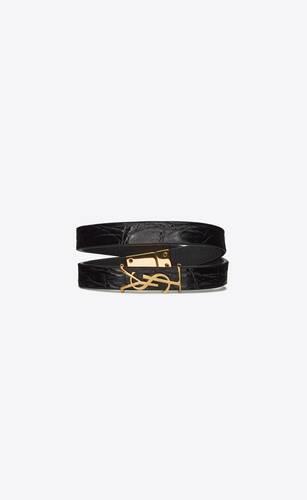 opyum bracelet double tour en caïman et métal