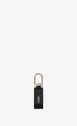 saint laurent tiny monogram keyring in smooth leather