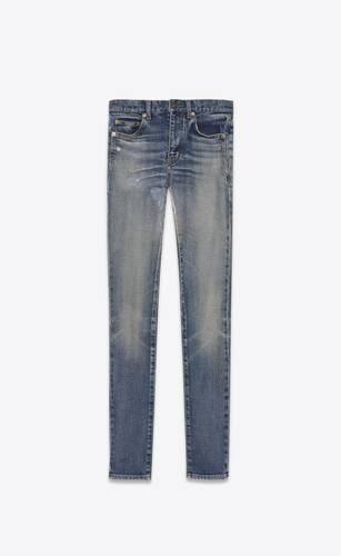 skinny-fit jeans in faded blue denim