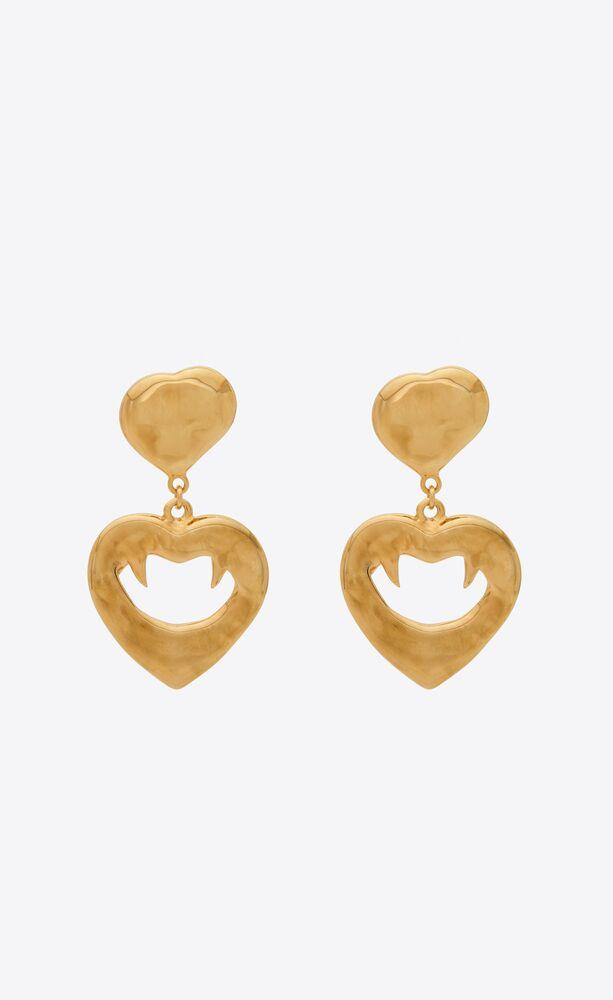 vampire heart pendant earrings in metal