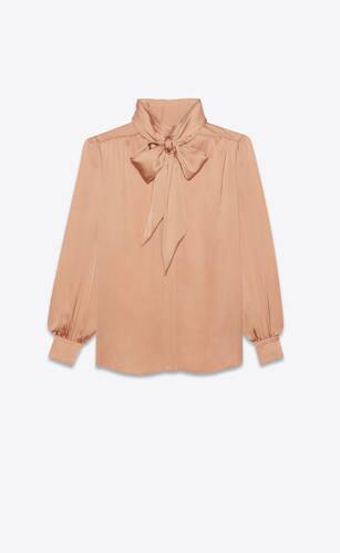 lavallière-neck blouse in silk charmeuse