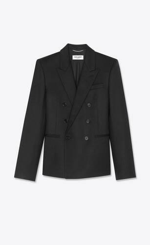 chaqueta sastre corta con doble botonadura de franela de lana