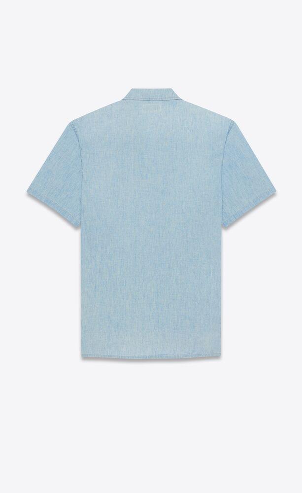 long shirt in blue-gray vintage denim