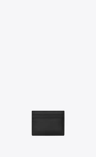 monogramme porte-cartes en cuir lisse