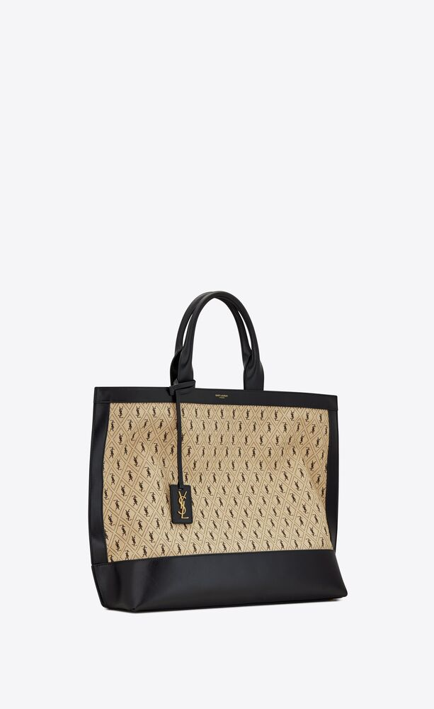 monogram tote in canvas and smooth leather