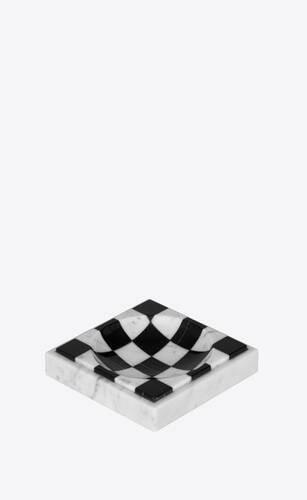 checkered pin tray in marble