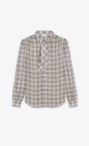 lavallière-neck blouse in checked silk