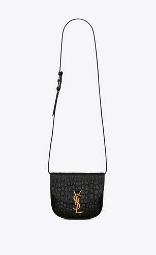 kaia small satchel in crocodile-embossed leather