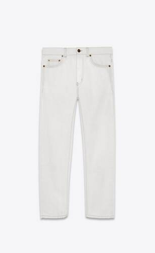 karottenjeans aus denim in grau und off-white