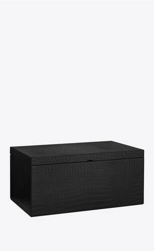large crocodile embossed leather box