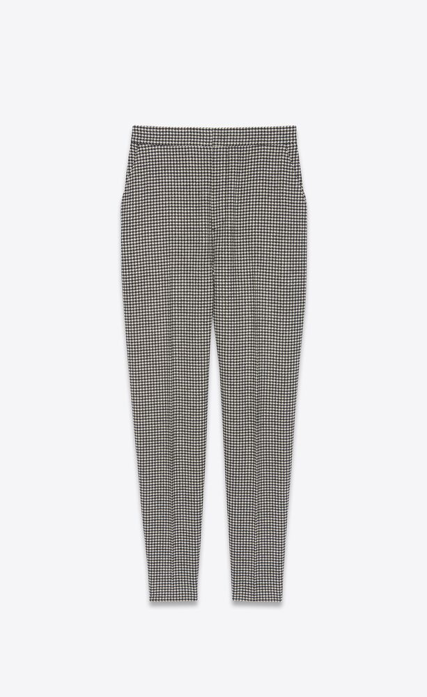 high-rise pants in wool houndstooth