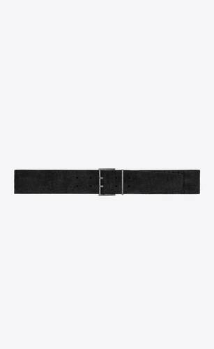 double-pin square belt in crocodile-embossed nubuck