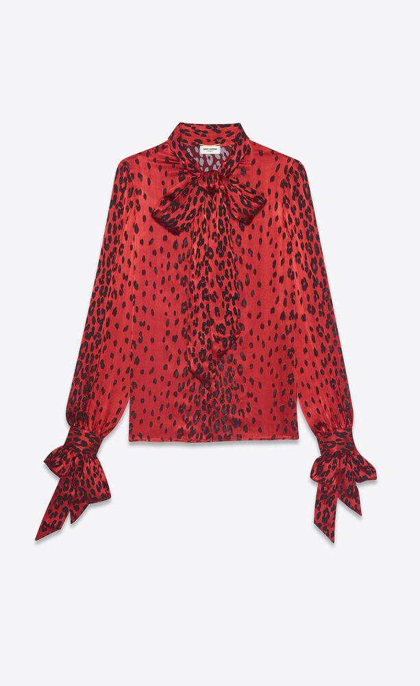 lavallière-neck blouse in leopard-print dévoré silk satin