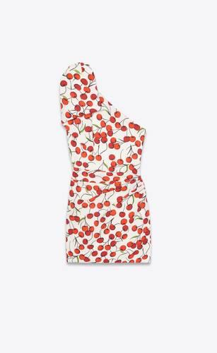 robe courte asymétrique à nœud en sablé à imprimé cerises