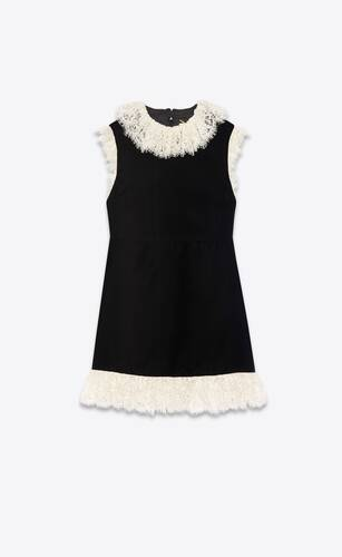 lace-trim mini dress in velvet