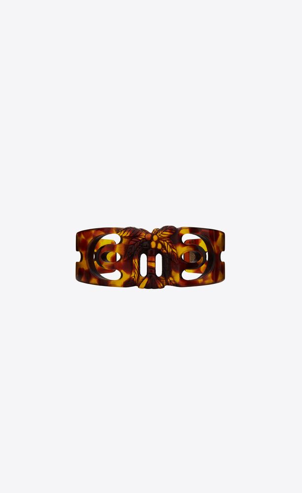 palm cuff bracelet in tortoiseshell resin