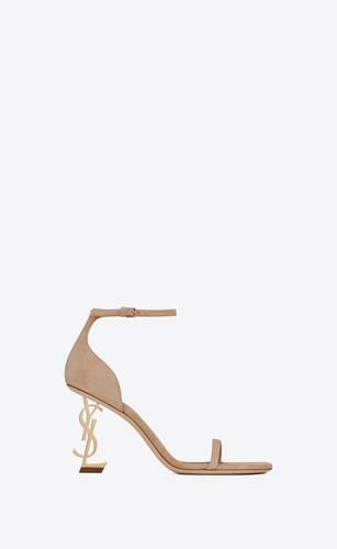 opyum sandalen aus wildleser mit blassgoldfarbenem absatz