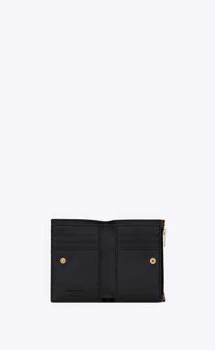 bi-fold zip wallet in leopard-print leather