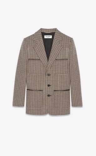 veste à boutonnage simple en laine pied-de-poule