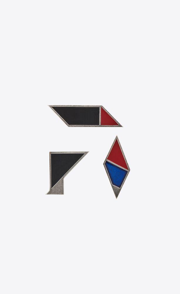 geometric pins in metal and enamel