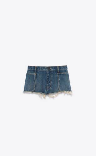 raw-edge shorts in indigo sky blue denim