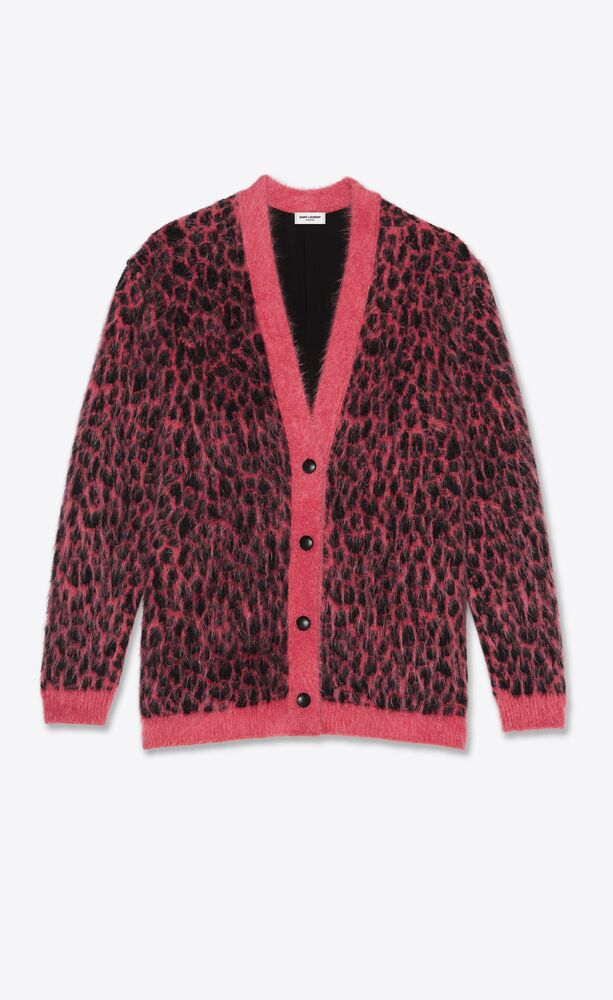 oversized knitted cardigan in brushed wool and mohair leopard-print jacquard
