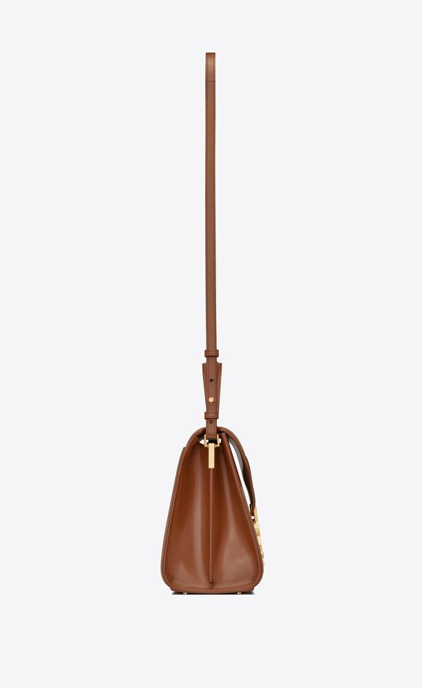 cassandra medium top handle bag in canvas and smooth leather